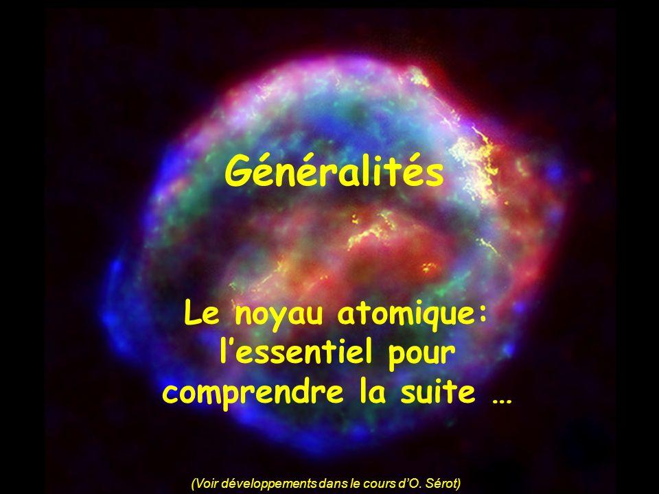 Généralités Le noyau atomique: lessentiel pour comprendre la suite … (Voir développements dans le cours dO. Sérot)