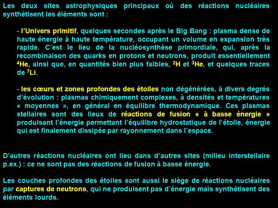 Les deux sites astrophysiques principaux où des réactions nucléaires synthétisent les éléments sont : - lUnivers primitif, quelques secondes après le