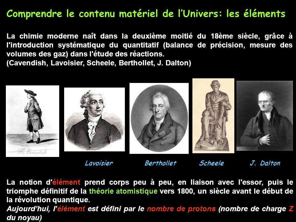Comprendre le contenu matériel de lUnivers: les éléments La chimie moderne naît dans la deuxième moitié du 18ème siècle, grâce à l'introduction systém