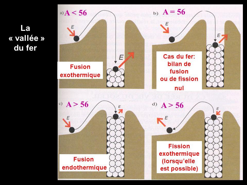 Fusion exothermique Cas du fer: bilan de fusion ou de fission nul A < 56 A = 56 Fusion endothermique Fission exothermique (lorsquelle est possible) A