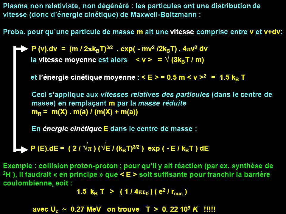 Plasma non relativiste, non dégénéré : les particules ont une distribution de vitesse (donc dénergie cinétique) de Maxwell-Boltzmann : Proba. pour quu