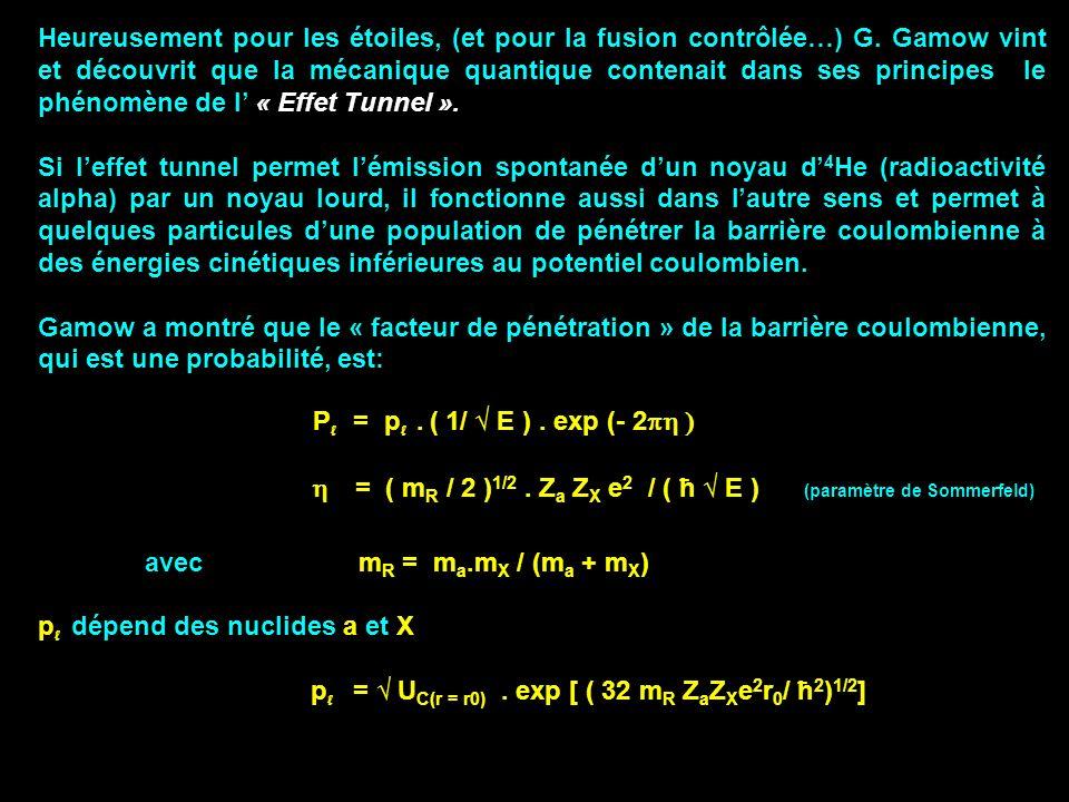 Heureusement pour les étoiles, (et pour la fusion contrôlée…) G. Gamow vint et découvrit que la mécanique quantique contenait dans ses principes le ph