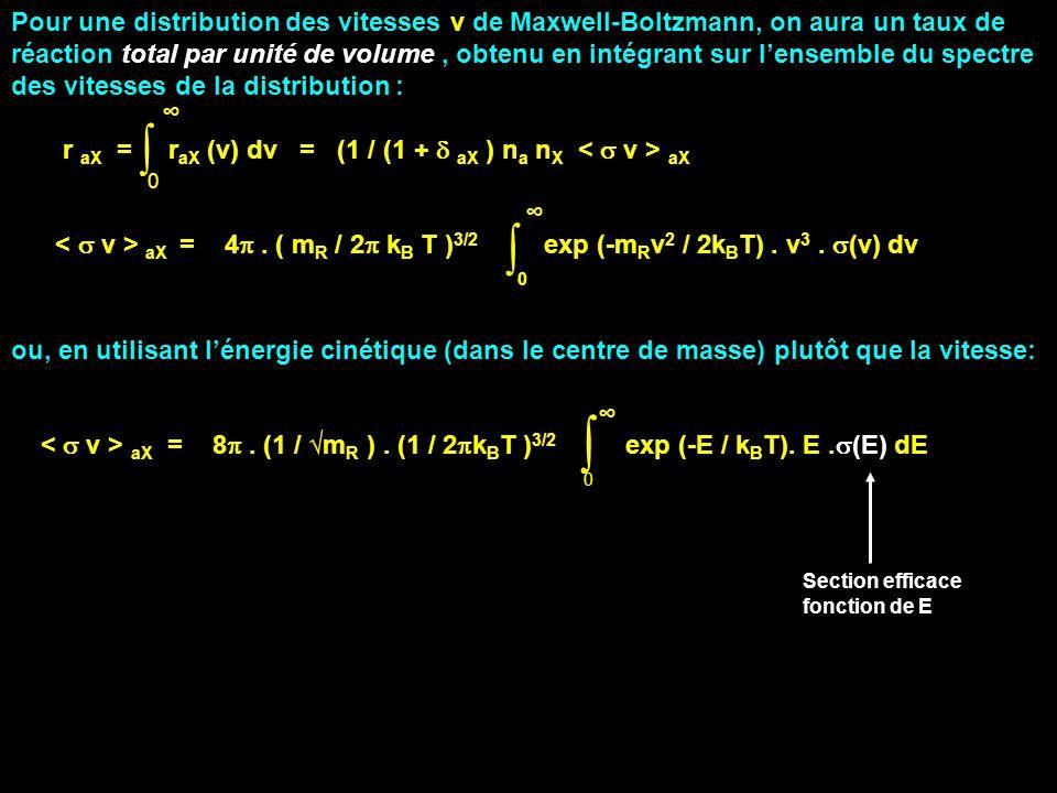 Pour une distribution des vitesses v de Maxwell-Boltzmann, on aura un taux de réaction total par unité de volume, obtenu en intégrant sur lensemble du