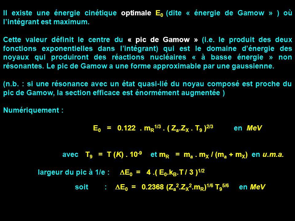 Il existe une énergie cinétique optimale E 0 (dite « énergie de Gamow » ) où lintégrant est maximum. Cette valeur définit le centre du « pic de Gamow
