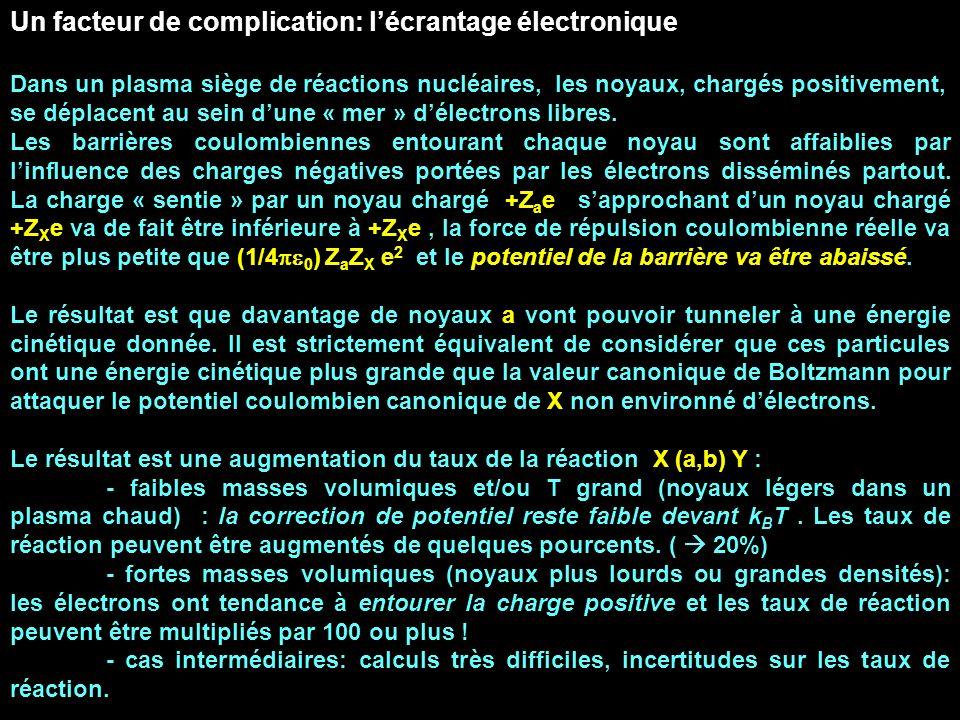 Un facteur de complication: lécrantage électronique Dans un plasma siège de réactions nucléaires, les noyaux, chargés positivement, se déplacent au se