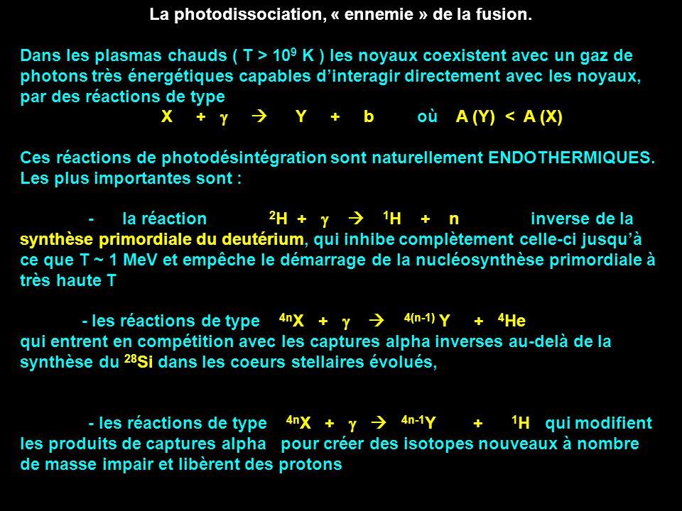 La photodissociation, « ennemie » de la fusion. Dans les plasmas chauds ( T > 10 9 K ) les noyaux coexistent avec un gaz de photons très énergétiques