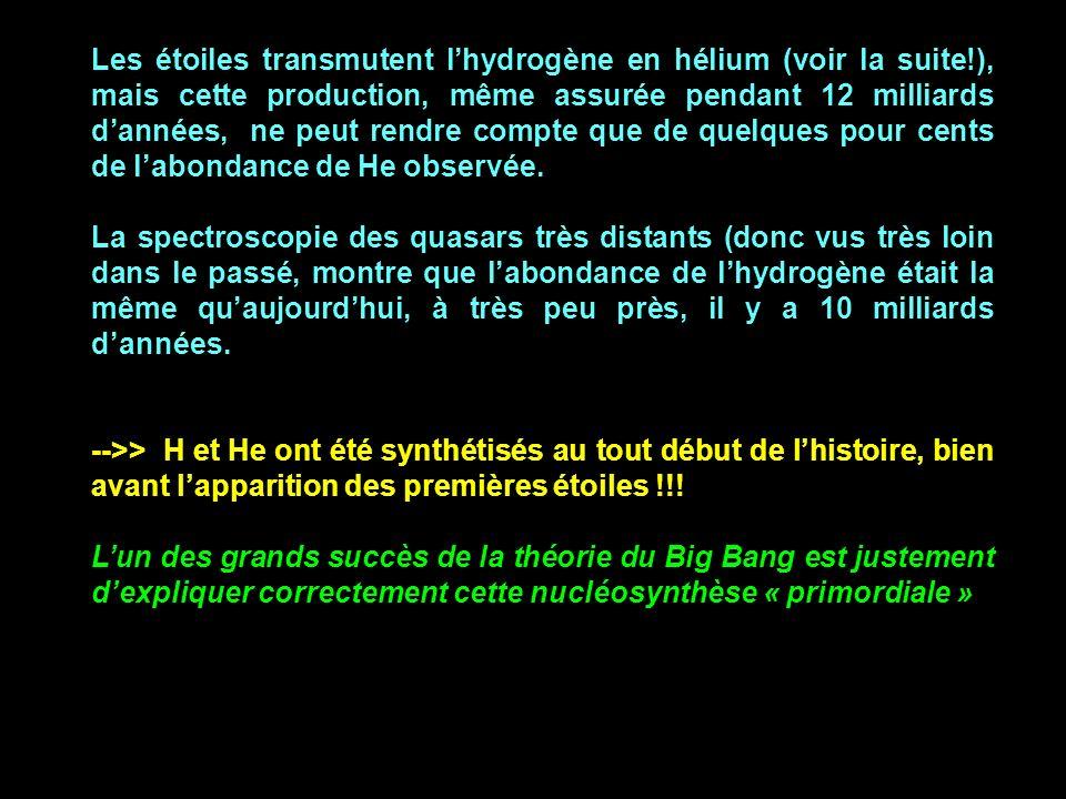 Les étoiles transmutent lhydrogène en hélium (voir la suite!), mais cette production, même assurée pendant 12 milliards dannées, ne peut rendre compte