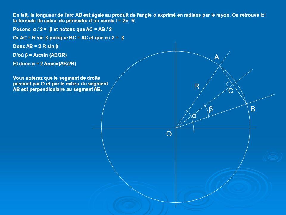 On en déduit avec la relation (6) que: Arc(AB) = α R = 2 R Arcsin [½ 2(1 – cosφ B cosθ B cosφ A – sinφ B sinφ A )] (8) A ce stade la formule est suffisante pour exprimer la longueur de larc AB qui correspond à lorthodromie.