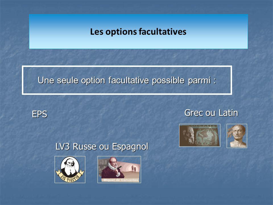 Les options facultatives Une seule option facultative possible parmi : Grec ou Latin EPS LV3 Russe ou Espagnol