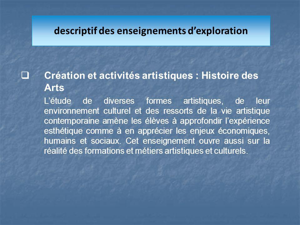Création et activités artistiques : Histoire des Arts Létude de diverses formes artistiques, de leur environnement culturel et des ressorts de la vie