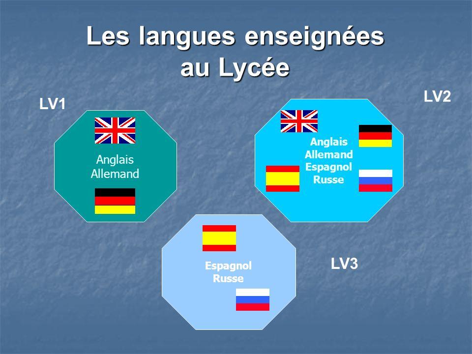 Anglais Allemand Espagnol Russe Les langues enseignées au Lycée Anglais Allemand Espagnol Russe LV1 LV2 LV3