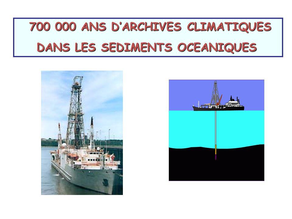 700 000 ANS DARCHIVES CLIMATIQUES 700 000 ANS DARCHIVES CLIMATIQUES DANS LES SEDIMENTS OCEANIQUES DANS LES SEDIMENTS OCEANIQUES