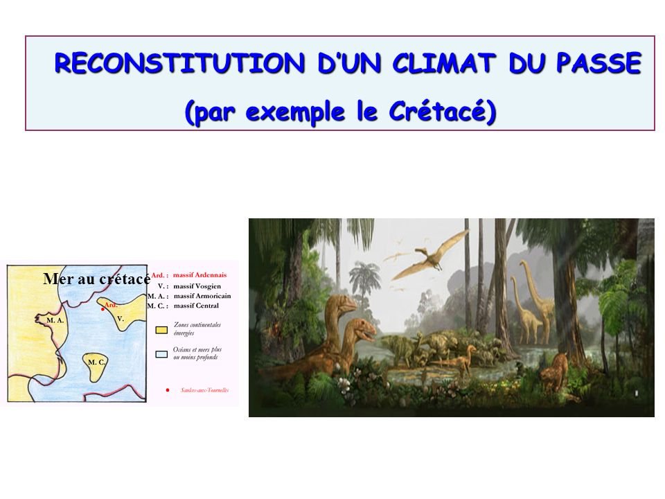 3. Reconstitution des climats très anciens et explications Mer au crétacé Paysage du crétacé RECONSTITUTION DUN CLIMAT DU PASSE RECONSTITUTION DUN CLI