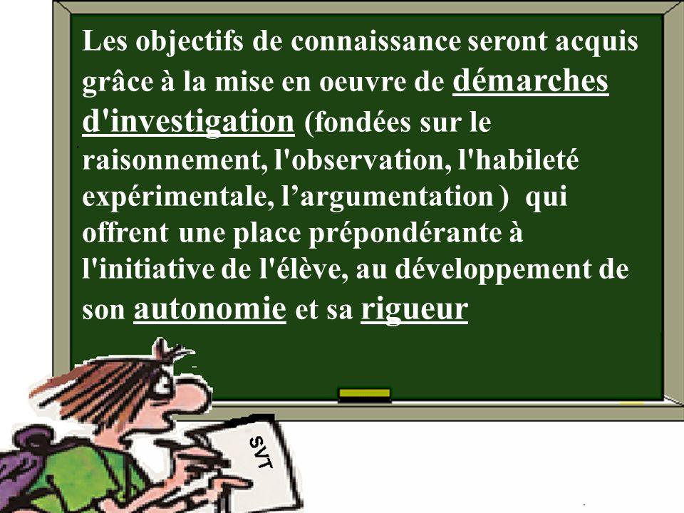 Les objectifs de connaissance seront acquis grâce à la mise en oeuvre de démarches d'investigation (fondées sur le raisonnement, l'observation, l'habi