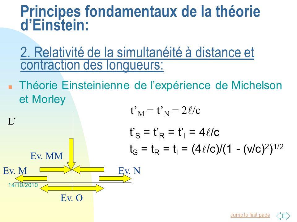 Jump to first page 14/10/2010 Principes fondamentaux de la théorie dEinstein: 1.
