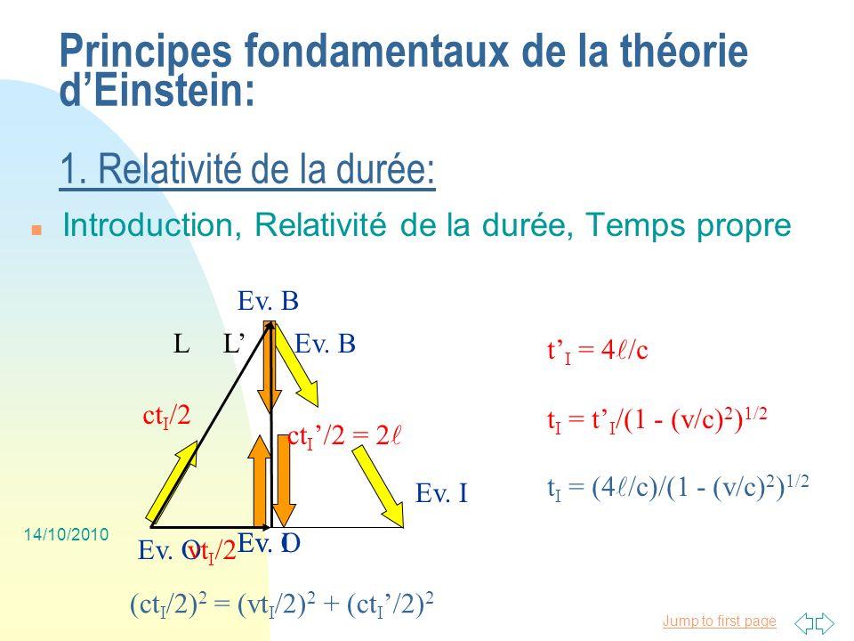 Jump to first page 14/10/2010 Principes fondamentaux de la théorie dEinstein: 2.