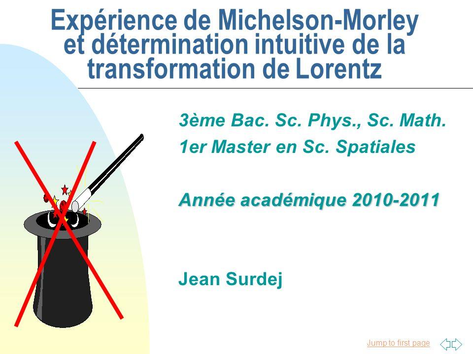 Jump to first page 14/10/2010 n Théorie Einsteinienne de lexpérience de Michelson et Morley t S = t R = t I = 4 /c t S = t R = t I = (4 /c)/(1 - (v/c) 2 ) 1/2 Principes fondamentaux de la théorie dEinstein: 2.