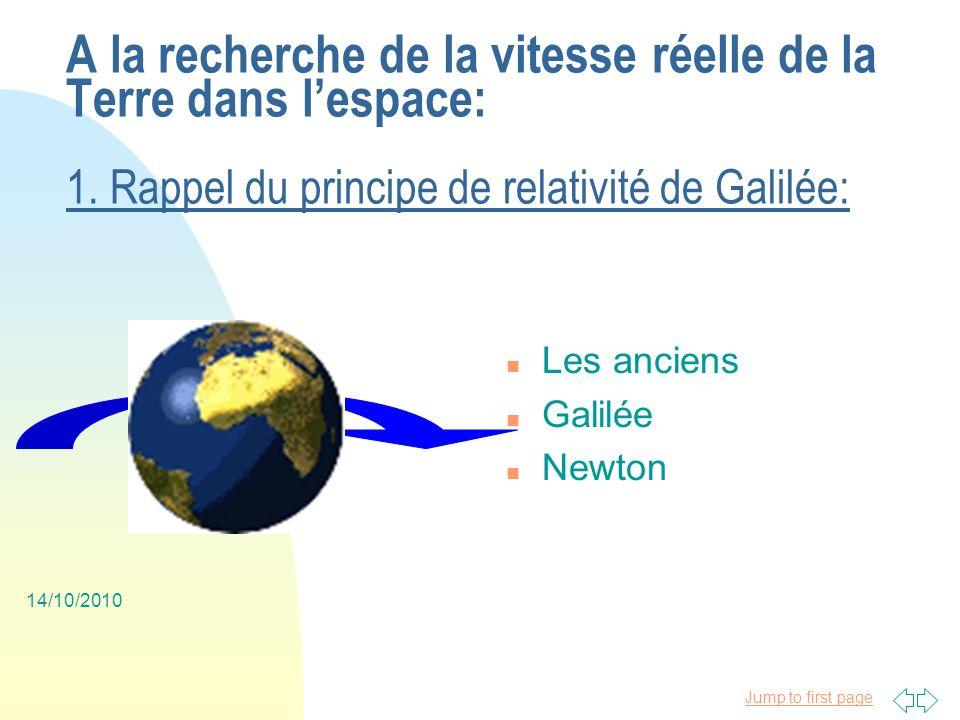 Jump to first page 14/10/2010 A la recherche de la vitesse réelle de la Terre dans lespace: 3.
