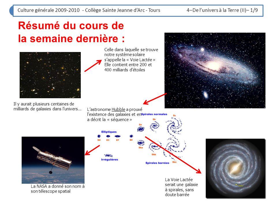 Culture générale 2009-2010 - Collège Sainte Jeanne dArc - Tours 4–De lunivers à la Terre (II)– 1/9 Résumé du cours de la semaine dernière : Il y aurai