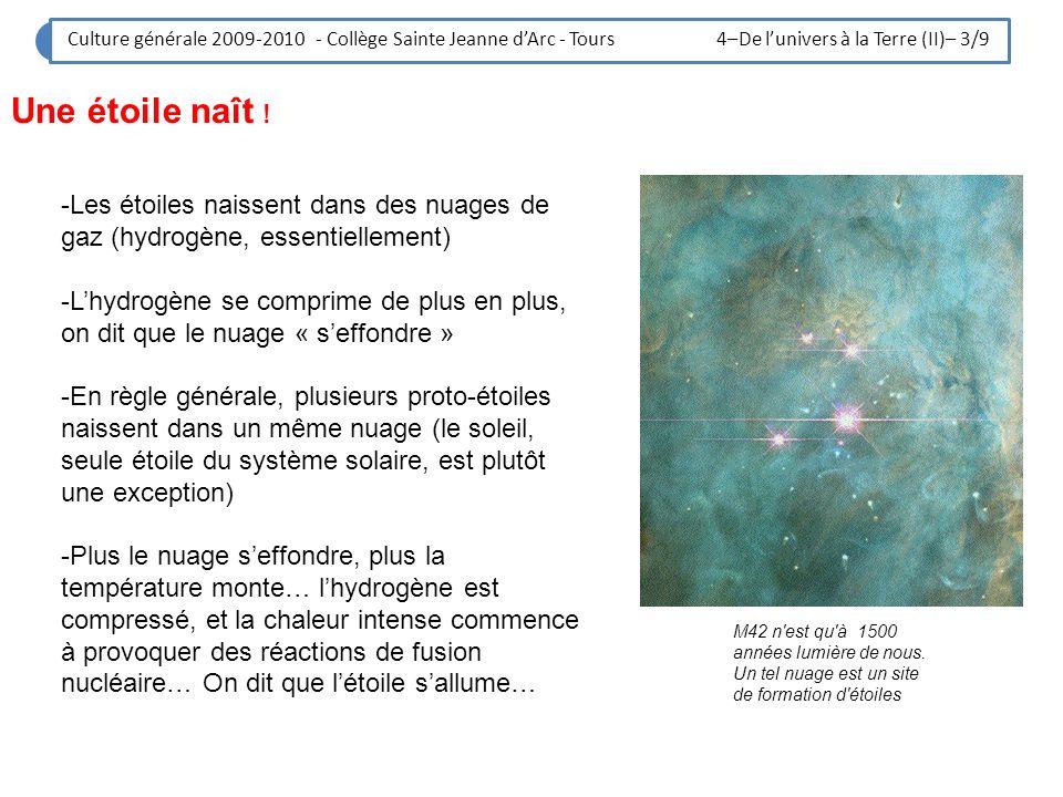 Une étoile naît ! M42 n'est qu'à 1500 années lumière de nous. Un tel nuage est un site de formation d'étoiles -Les étoiles naissent dans des nuages de