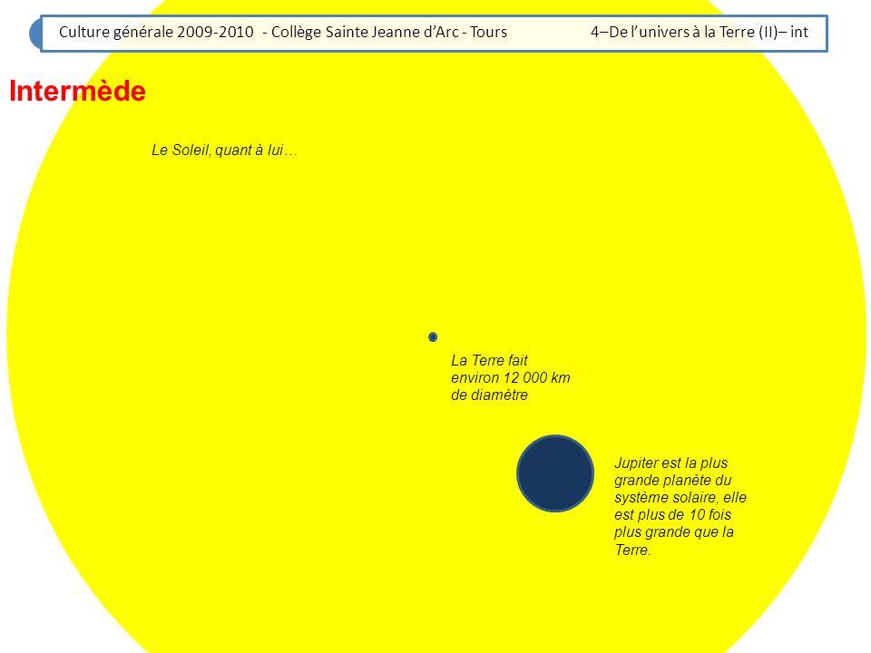 Culture générale 2009-2010 - Collège Sainte Jeanne dArc - Tours 4–De lunivers à la Terre (II)– int La Terre fait environ 12 000 km de diamètre Jupiter