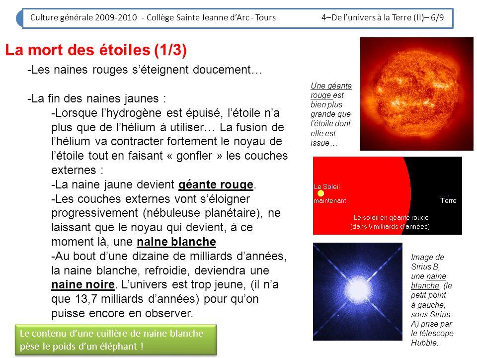 Culture générale 2009-2010 - Collège Sainte Jeanne dArc - Tours 4–De lunivers à la Terre (II)– 7/9 La mort des étoiles (2/3) : le cas des grosses étoiles -Certaines étoiles sont bien plus grosses que le soleil, 100 fois plus… -Elles sont issues de naine jaune bien plus grosses que le Soleil.