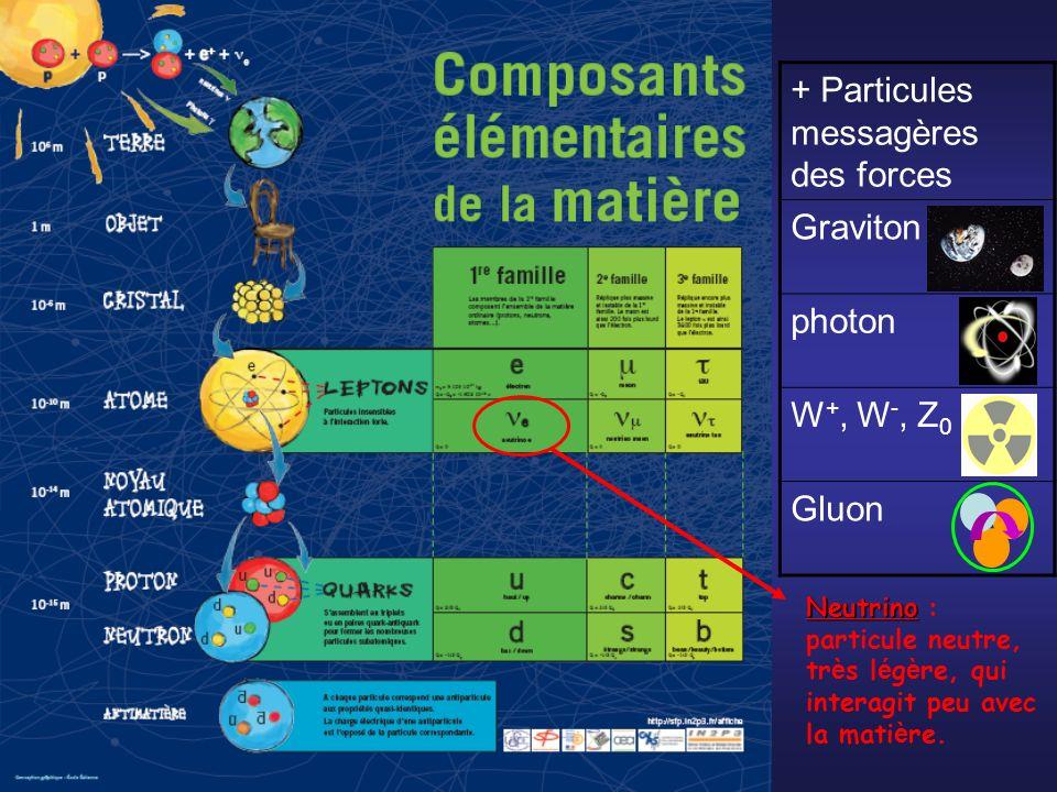 + Particules messagères des forces Graviton photon W +, W -, Z 0 Gluon Neutrino Neutrino : particule neutre, tr è s l é g è re, qui interagit peu avec