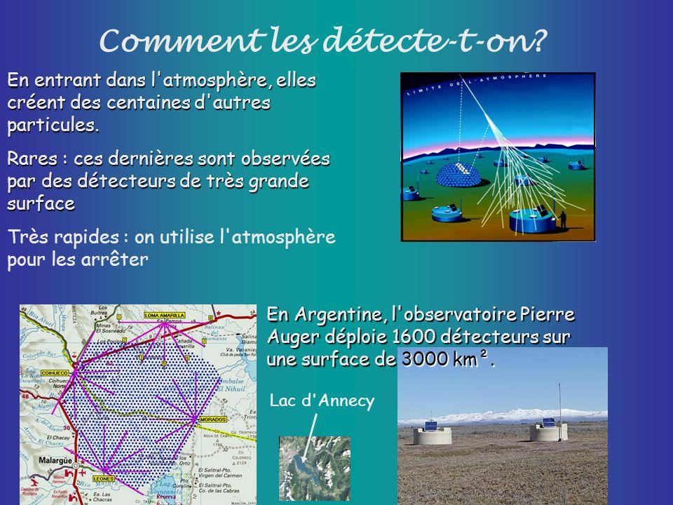 Comment les détecte-t-on? En entrant dans l'atmosphère, elles créent des centaines d'autres particules. Rares : ces dernières sont observées par des d