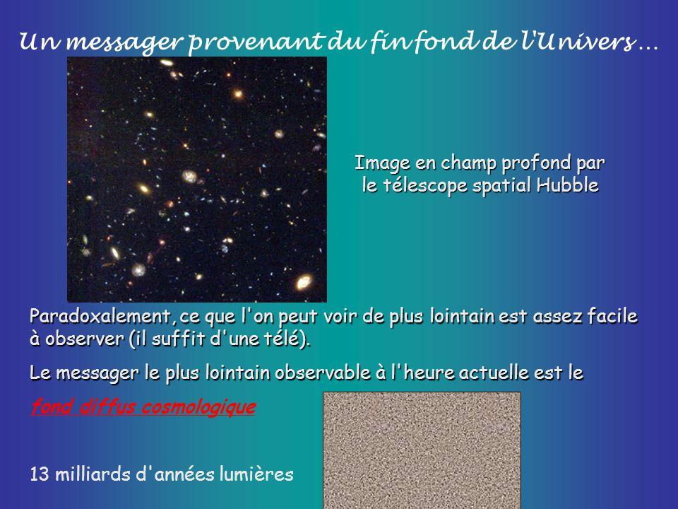 Un messager provenant du fin fond de l'Univers … Image en champ profond par le télescope spatial Hubble Paradoxalement, ce que l'on peut voir de plus