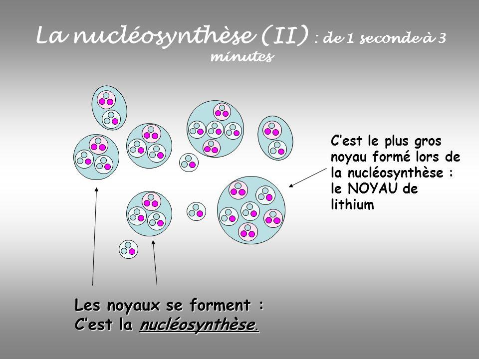La nucléosynthèse (II) : de 1 seconde à 3 minutes Les noyaux se forment : Cest la nucléosynthèse. Cest le plus gros noyau formé lors de la nucléosynth