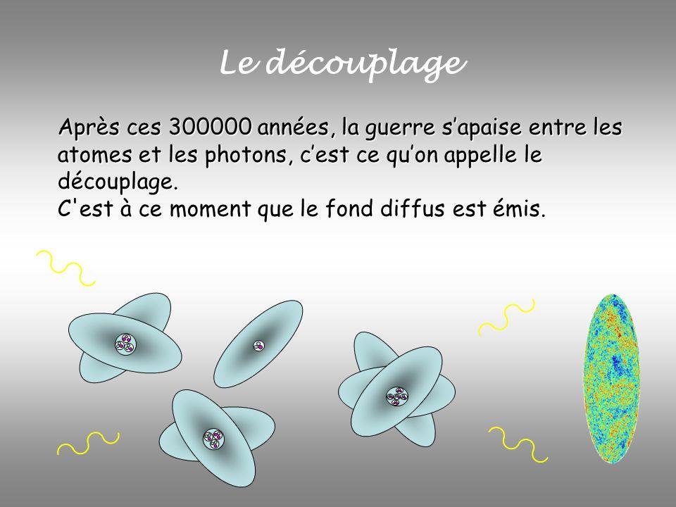 Le découplage Après ces 300000 années, la guerre sapaise entre les atomes et les photons, cest ce quon appelle le découplage. C'est à ce moment que le