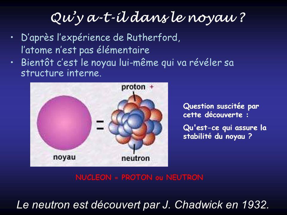 Daprès lexpérience de Rutherford, latome nest pas élémentaire Bientôt cest le noyau lui-même qui va révéler sa structure interne. Le neutron est décou