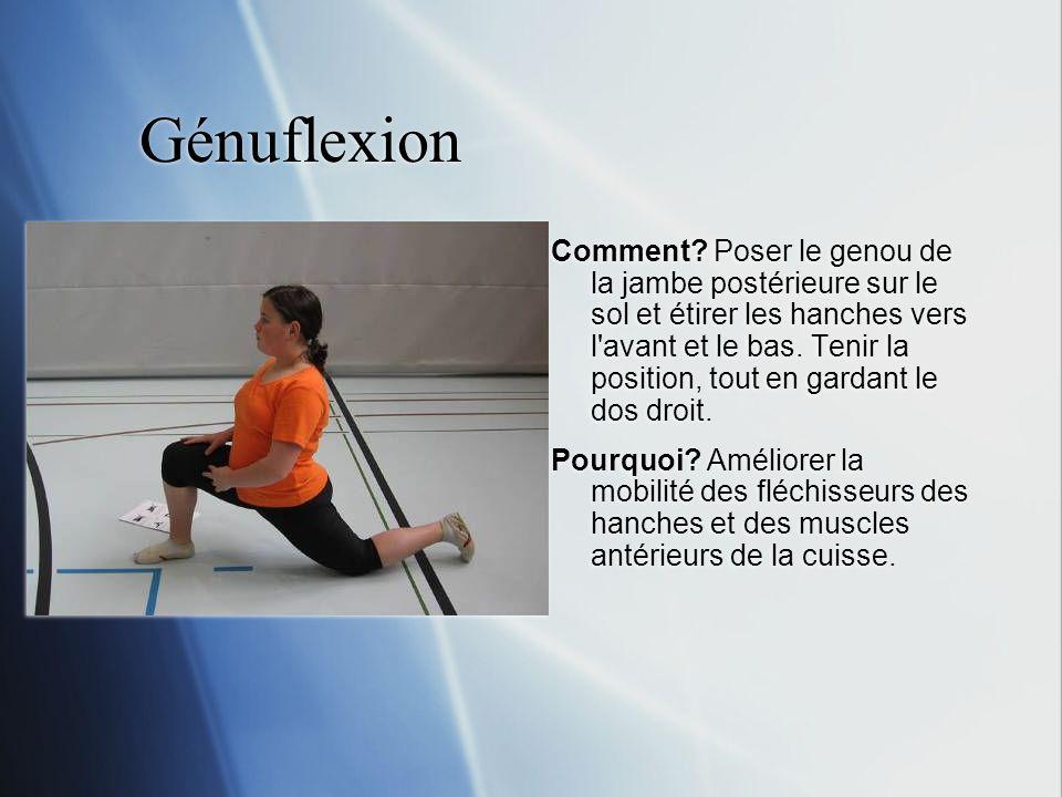 Génuflexion Comment? Poser le genou de la jambe postérieure sur le sol et étirer les hanches vers l'avant et le bas. Tenir la position, tout en gardan