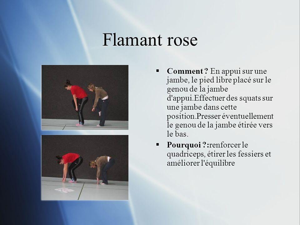 Flamant rose Comment ? En appui sur une jambe, le pied libre placé sur le genou de la jambe d'appui.Effectuer des squats sur une jambe dans cette posi