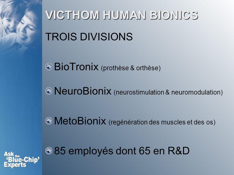 VICTHOM HUMAN BIONICS TROIS DIVISIONS BioTronix (prothèse & orthèse) NeuroBionix (neurostimulation & neuromodulation) MetoBionix (regénération des muscles et des os) 85 employés dont 65 en R&D