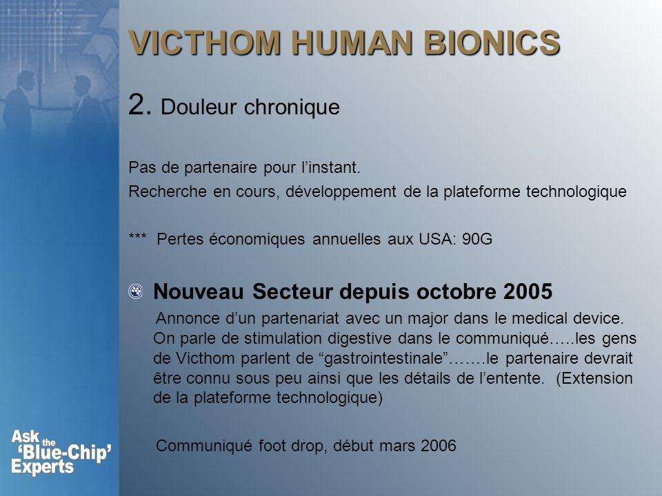VICTHOM HUMAN BIONICS 2. Douleur chronique Pas de partenaire pour linstant. Recherche en cours, développement de la plateforme technologique *** Perte