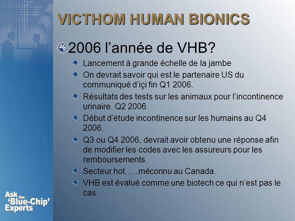 VICTHOM HUMAN BIONICS 2006 lannée de VHB? Lancement à grande échelle de la jambe On devrait savoir qui est le partenaire US du communiqué diçi fin Q1