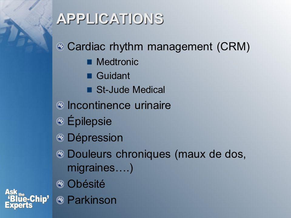 APPLICATIONS Cardiac rhythm management (CRM) Medtronic Guidant St-Jude Medical Incontinence urinaire Épilepsie Dépression Douleurs chroniques (maux de dos, migraines….) Obésité Parkinson