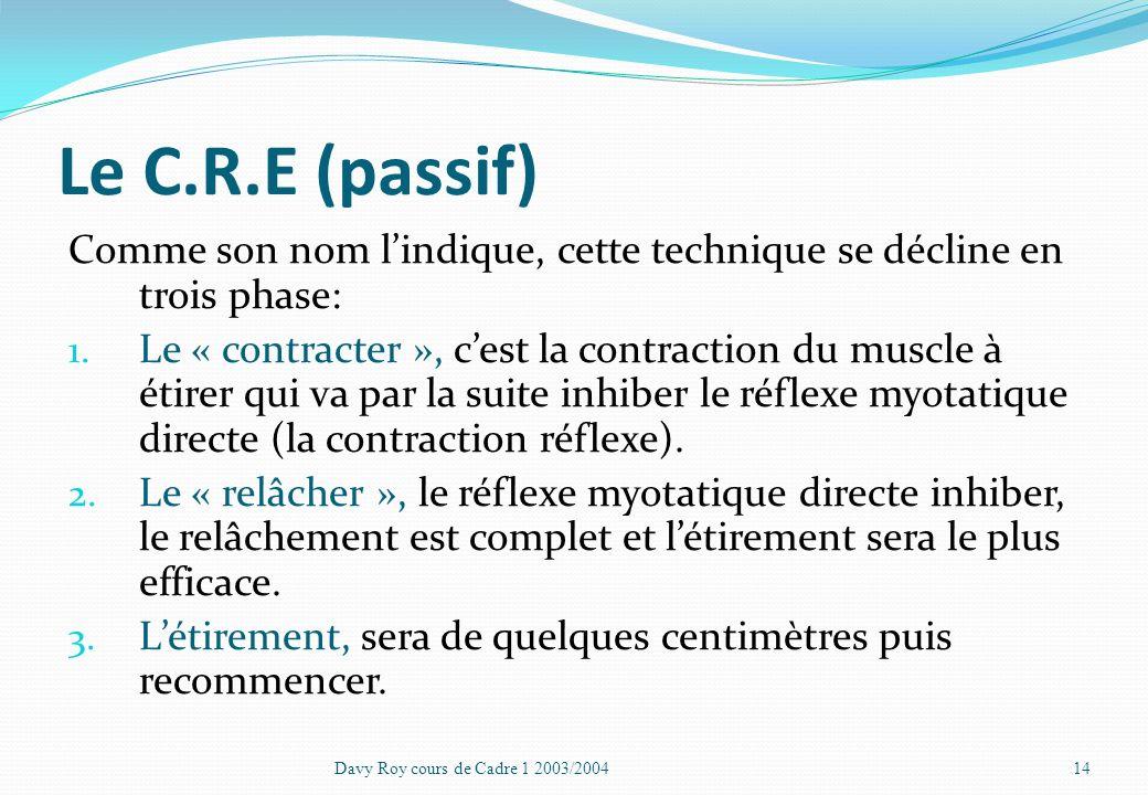 Le C.R.E Cest la technique la plus efficace Peut se faire avec ou sans manipulation extérieur Qui demande des connaissances Biomécaniques Davy Roy cou