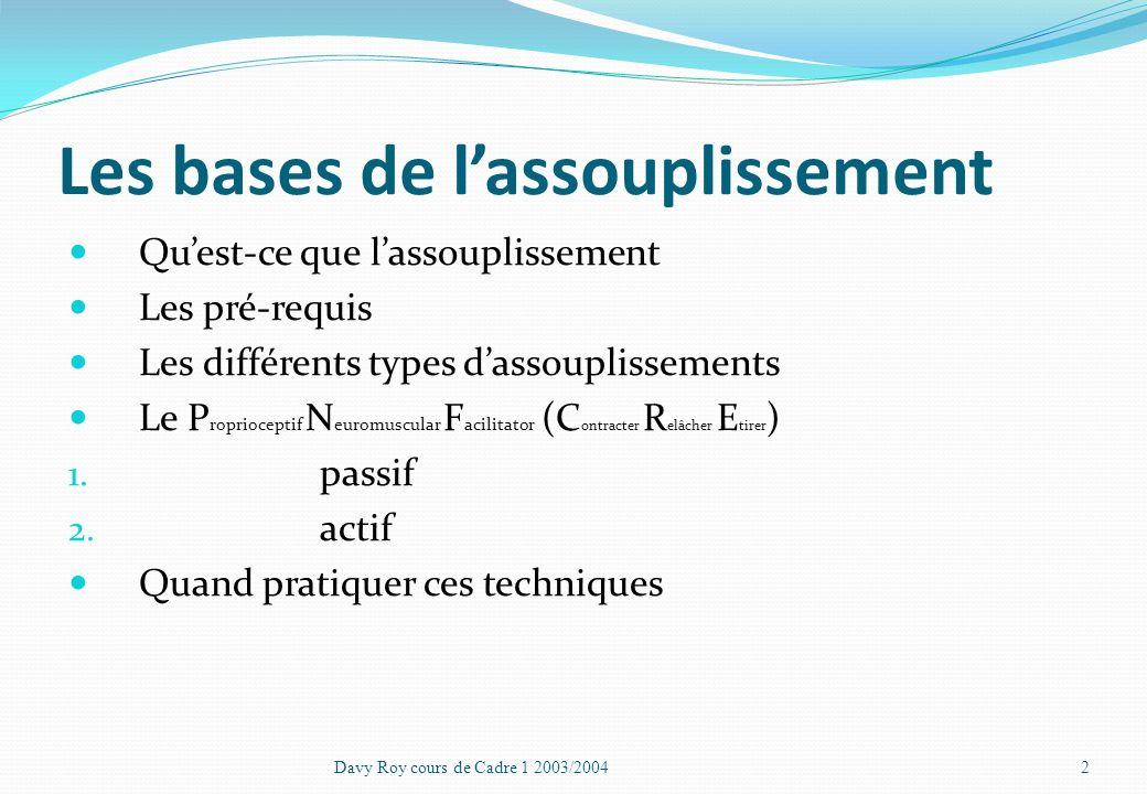 Les bases de lassouplissement Élément indispensable à la préparation des gymnastes Davy Roy cours de Cadre 1 2003/20041