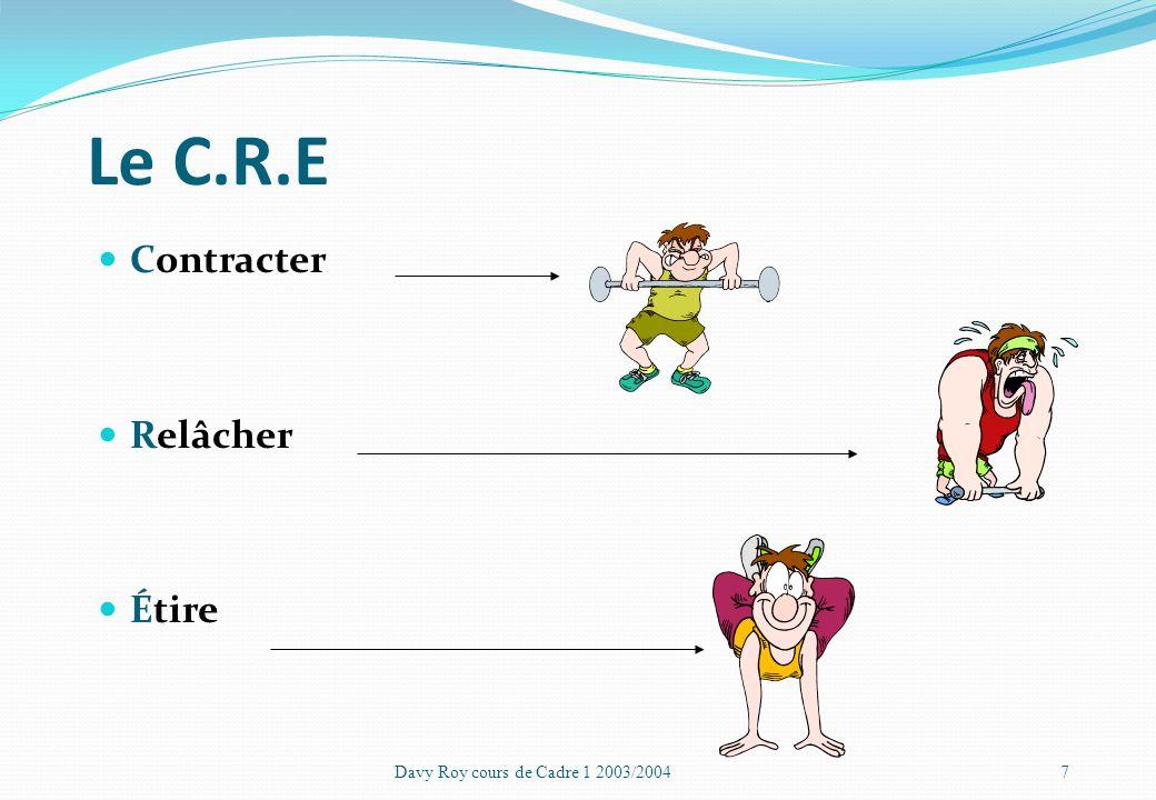Les différents types dassouplissements Passifs Le gym ne met en jeu aucune action musculaire Actifs Le gym défini une action qui induit un étirement D