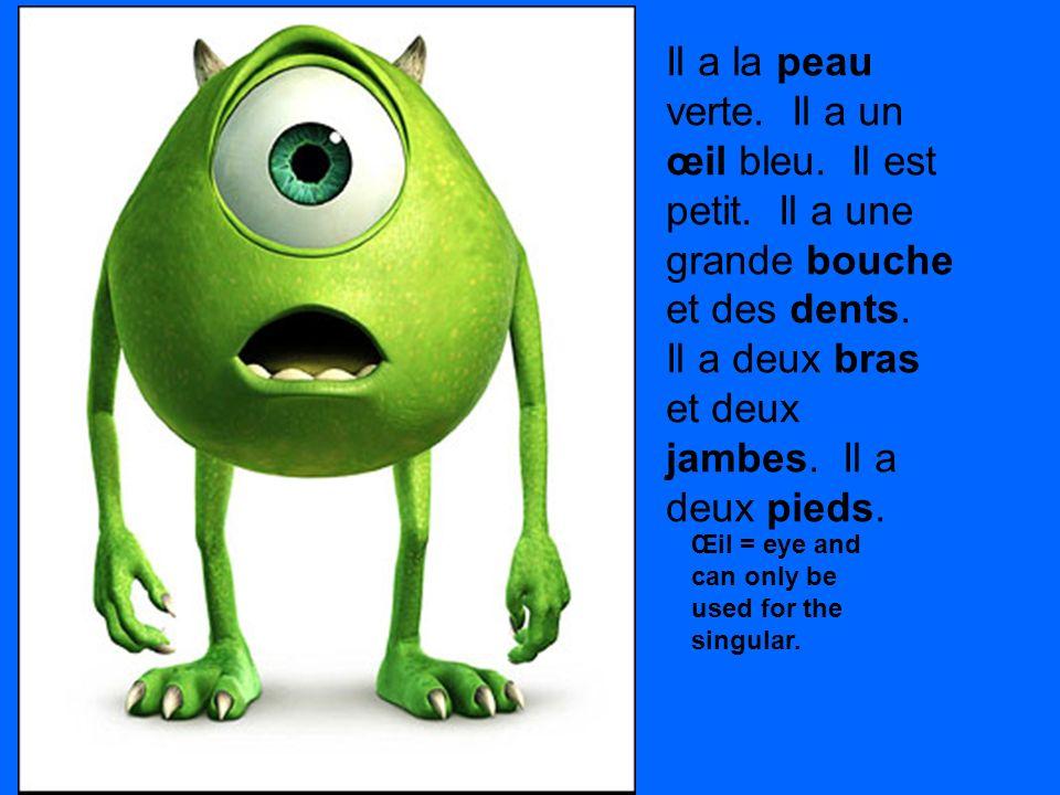 Il a la peau verte. Il a un œil bleu. Il est petit. Il a une grande bouche et des dents. Il a deux bras et deux jambes. Il a deux pieds. Œil = eye and