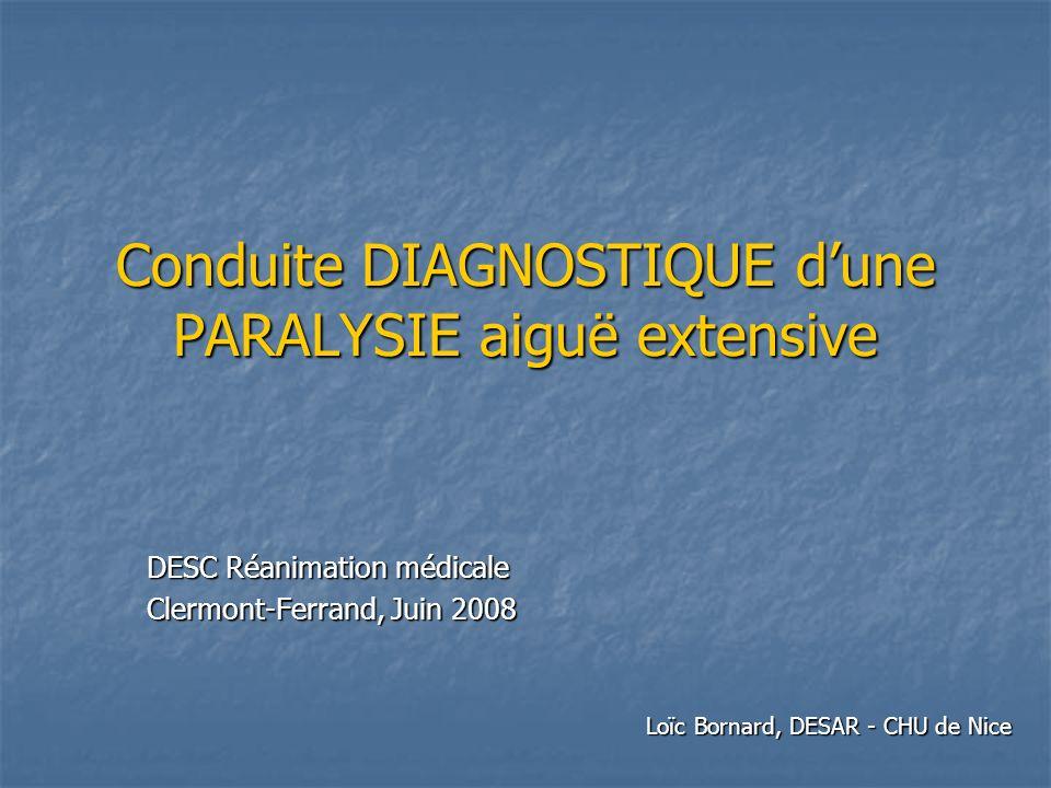 Conduite DIAGNOSTIQUE dune PARALYSIE aiguë extensive DESC Réanimation médicale Clermont-Ferrand, Juin 2008 Loïc Bornard, DESAR - CHU de Nice