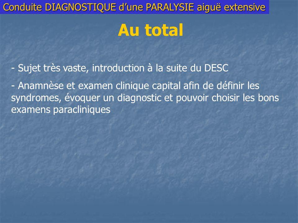 Conduite DIAGNOSTIQUE dune PARALYSIE aiguë extensive Au total - Sujet très vaste, introduction à la suite du DESC - Anamnèse et examen clinique capital afin de définir les syndromes, évoquer un diagnostic et pouvoir choisir les bons examens paracliniques