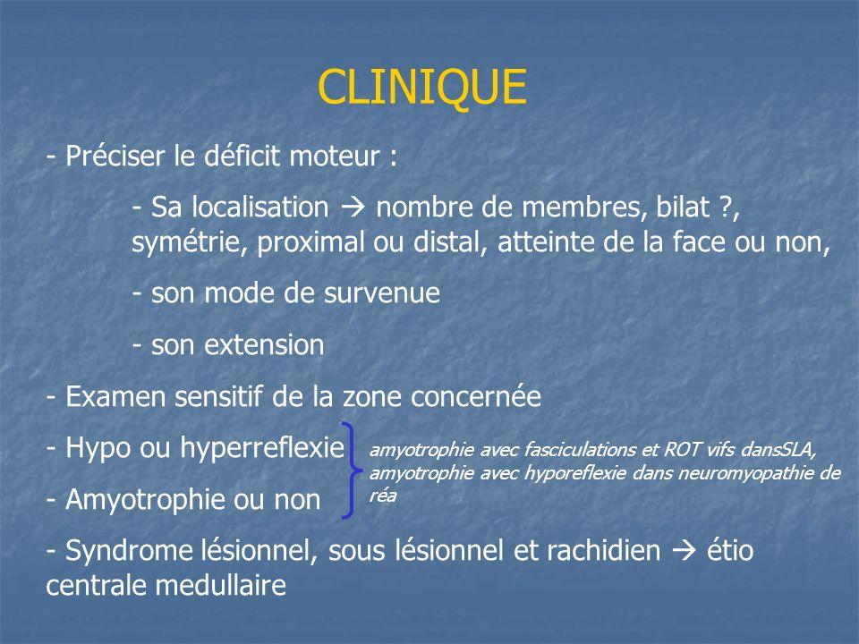 CLINIQUE - Préciser le déficit moteur : - Sa localisation nombre de membres, bilat ?, symétrie, proximal ou distal, atteinte de la face ou non, - son mode de survenue - son extension - Examen sensitif de la zone concernée - Hypo ou hyperreflexie - Amyotrophie ou non - Syndrome lésionnel, sous lésionnel et rachidien étio centrale medullaire amyotrophie avec fasciculations et ROT vifs dansSLA, amyotrophie avec hyporeflexie dans neuromyopathie de réa