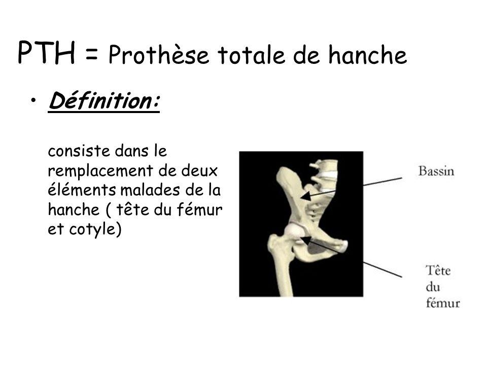 Définition: consiste dans le remplacement de deux éléments malades de la hanche ( tête du fémur et cotyle) PTH = Prothèse totale de hanche
