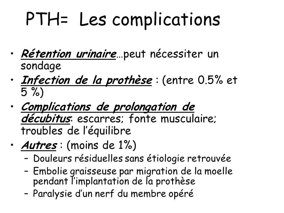 PTH= Les complications Rétention urinaire…peut nécessiter un sondage Infection de la prothèse : (entre 0.5% et 5 %) Complications de prolongation de décubitus: escarres; fonte musculaire; troubles de léquilibre Autres : (moins de 1%) –Douleurs résiduelles sans étiologie retrouvée –Embolie graisseuse par migration de la moelle pendant limplantation de la prothèse –Paralysie dun nerf du membre opéré