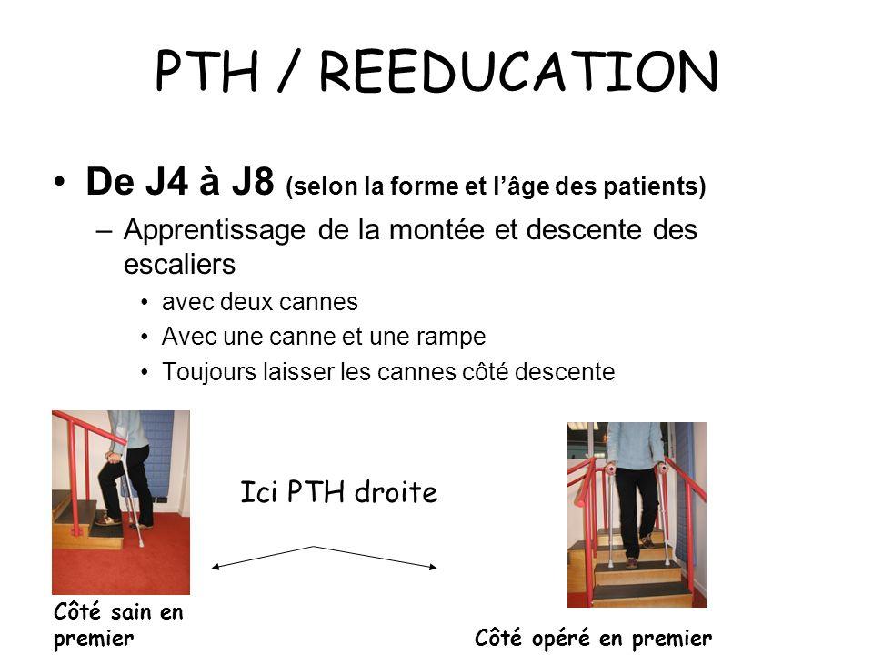 PTH / REEDUCATION De J4 à J8 (selon la forme et lâge des patients) –Apprentissage de la montée et descente des escaliers avec deux cannes Avec une canne et une rampe Toujours laisser les cannes côté descente Ici PTH droite Côté sain en premier Côté opéré en premier