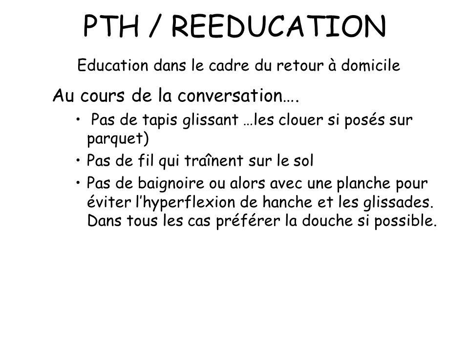 PTH / REEDUCATION Education dans le cadre du retour à domicile Au cours de la conversation….