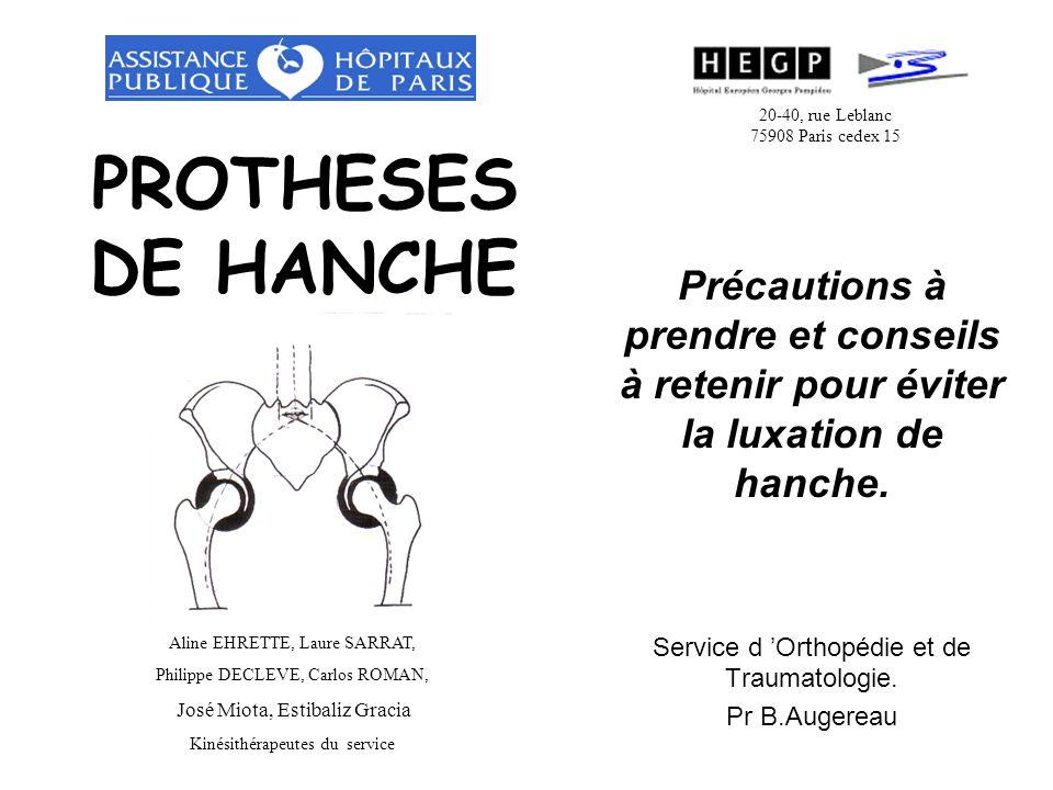 PROTHESES DE HANCHE Précautions à prendre et conseils à retenir pour éviter la luxation de hanche.